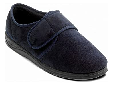 e6246f37ceb Padders CHARLES Mens Microsuede Velcro Wide (G) Fitting Slippers Navy UK 7