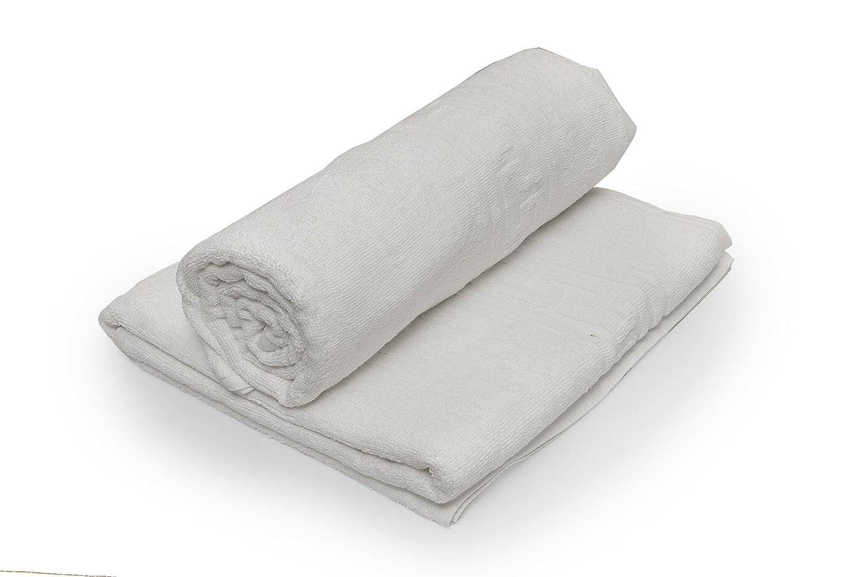 Towel Home - Juego 2 Toallas Baño Greca Blancas muy Resistentes 540grm2: Amazon.es: Hogar