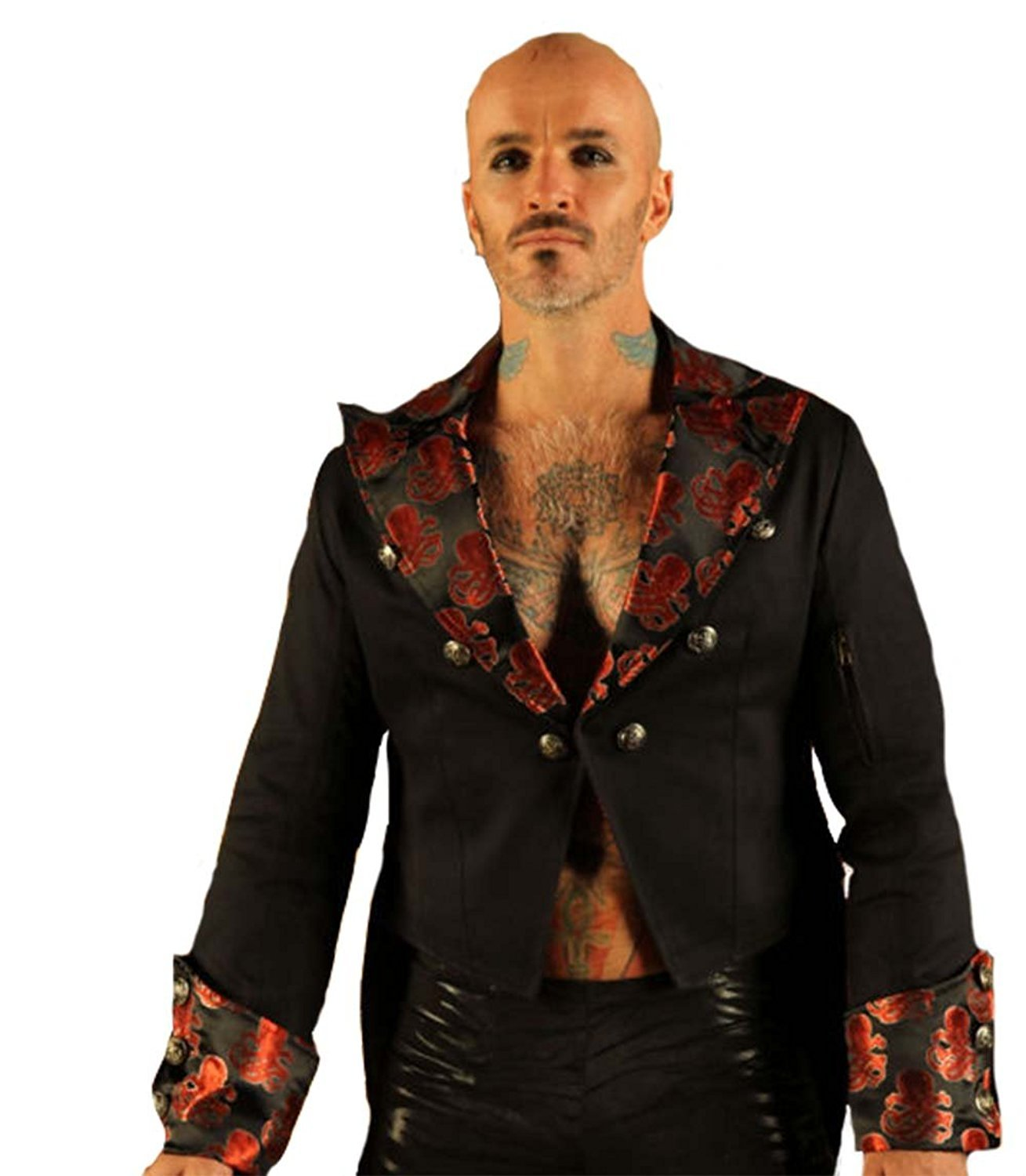 Leatherotics Mens Cotton Tailcoat Wedding Red Steampunk Vintage Jacket Dress Coat STPGR (XSmall)