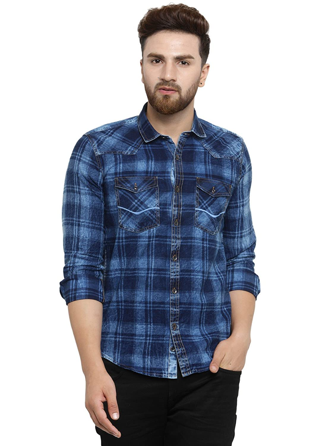 46c986a802 Kivon Men s Full Sleeve Checkred Casual Shirt Blue (Size M)  Amazon.in   Clothing   Accessories