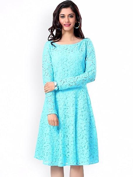 112aeae760 Azul Turquesa Nylon Mangas largas sólidas de la Mujer Casual Fit   flare  vestido