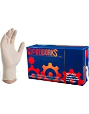 GLOVEWORKS Industrial White Latex Gloves - 4 mil, Powder Free, Textured, Disposable, Small, TLF42100, Case of 1000