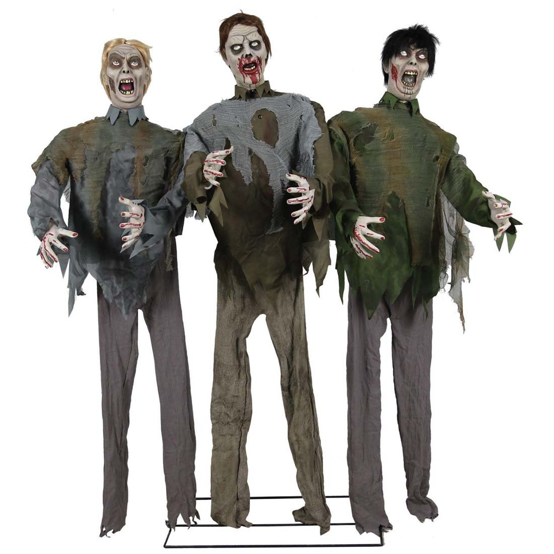 HALLOWEEN ANIMATED LIFE SIZE WALKING DEAD ZOMBIE HORDE PROP -Easy-to-assemble