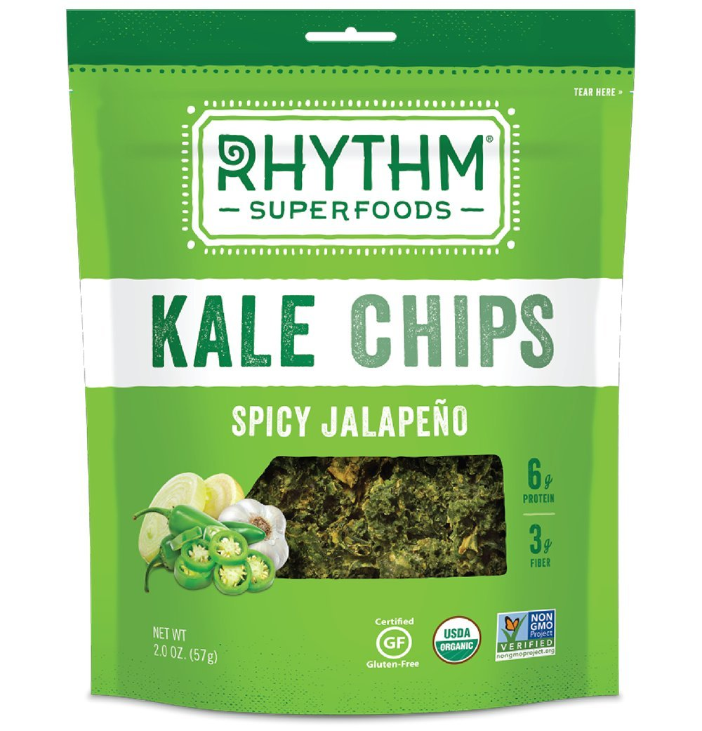 Rhythm Kale Chips, NEW Spicy Jalapeno Flavor, Gluten Free, Organic Superfoods, 2 oz, Pack of 3 by Rhythm Superfoods