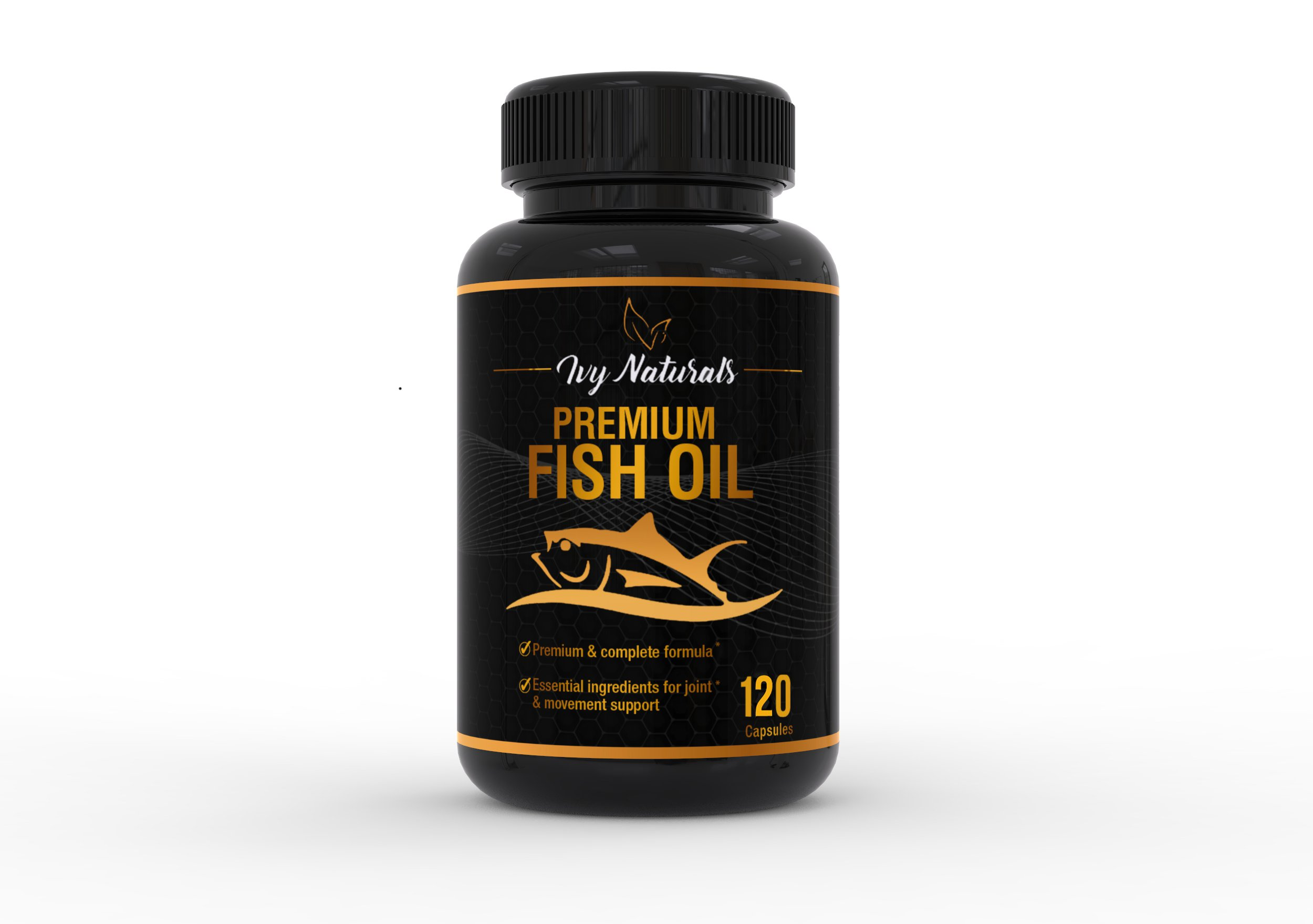 Fish Oil by Ivy Naturals    120 Powerful Capsules    Packed with Premium Omega-3s, DHA, & EPA    Promotes Heart Health    Supports Cell Growth and Metabolic Functions    100% Satisfaction Guarantee