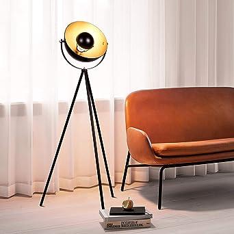 Albrillo Stehlampe - Retro Studiolampe mit E27 Fassung, Vintage Stehleuchte  in Schwarz Gold, Ø 32 cm Lampenschirm und Max. 60W, 140cm Standlampe, ...