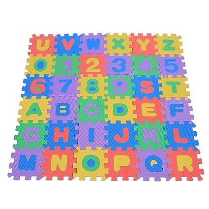Juego para niños con 36 piezas blandas de goma eva Colchoneta con números 0-9 y letras AZ para bebés, base para arrastrarse de colores Colchoneta ...