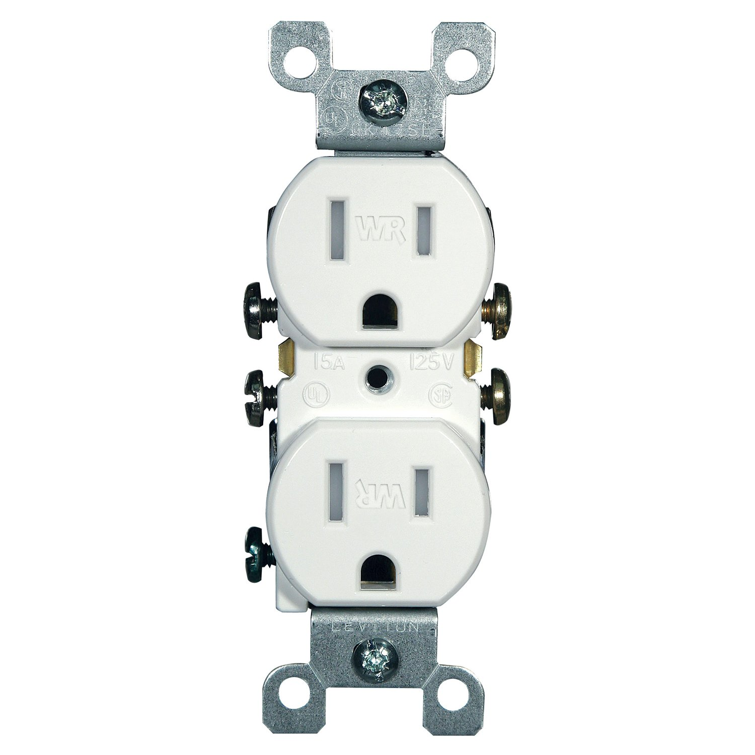 Leviton W5320 T0w 15 Amp 125 Volt Weather And Tamper Resistant Home Wiring Outlet Height Duplex Receptacle Grounding Side Quickwire White Electric Plugs