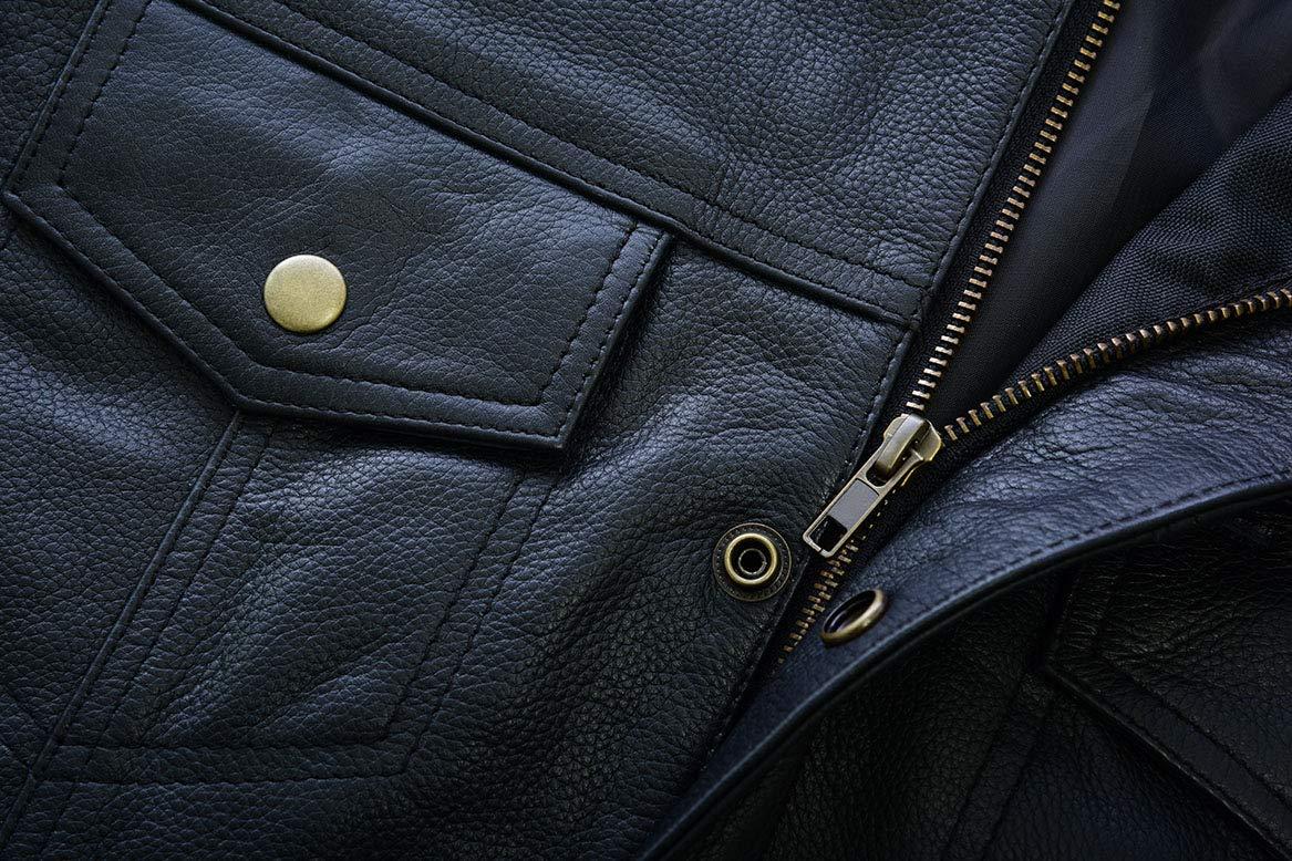 SOA Open Button Premium Leather Waistcoat Cut Off Style Biker Leather Vest L