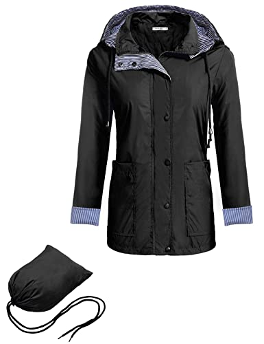 Meaneor Chaqueta Impermeable Mujer con Capucha Desmontable Empaqueteador Mangas Largas