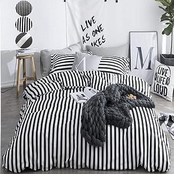 Amazon Com Clothknow Duvet Cover Sets Queen Stripes Black And