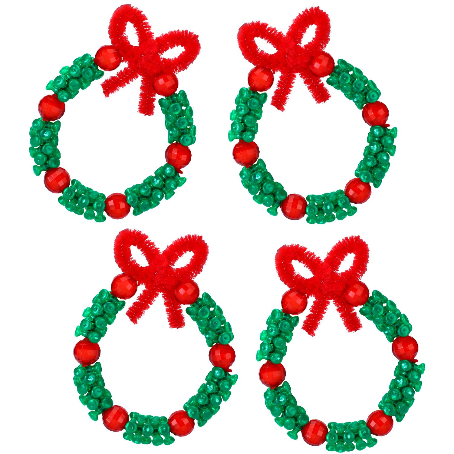 WILLBOND Christmas Beaded Ornament Kit Includes 800 Pieces 10 mm Christmas Tri Beads 32.8 Feet Fishing Line Nylon Cord 50 Pieces Christmas Chenille Stems 200 Pieces Christmas Round Glass Beads