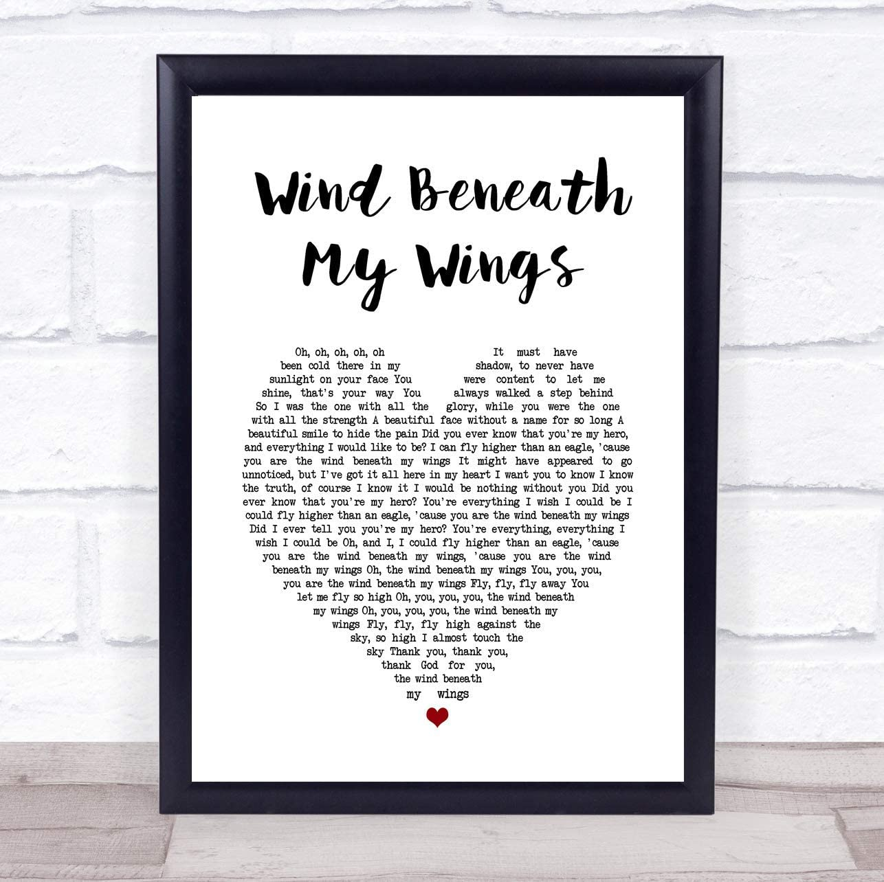 4 faionjaycho Wind Beneath My Wings Heart Song Lyric Quote Print Wall Art Home Decor Graduation Gift Framed 16X12in