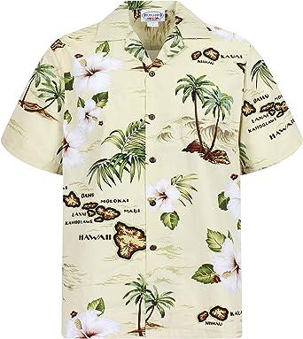 Pacific Legend | Original Camisa Hawaiana | Caballeros | S - 4XL | Manga Corta | Bolsillo Delantero | Estampado Hawaiano | Islands | Palmeras | Playa | Crema: Amazon.es: Ropa y accesorios