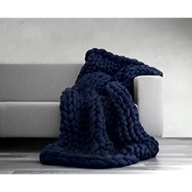 VIYEAR Chunky Knit Blanket Soft Handmade Knitting Throw for Bedroom Sofa Decor Super Large (Navy Blue, 40  59 ) …