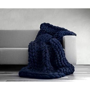 VIYEAR Chunky Knit Blanket Soft Handmade Knitting Throw for Bedroom Sofa Decor Super Large (Navy Blue, 32  40 ) …
