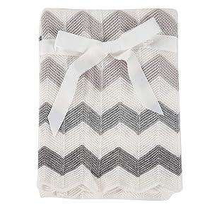 Cozyholy Baby Blanket Knitted Elegant Chevron Soft Toddler Nursery Crib Throw Blankets Receiving Swaddle Blanket Stroller Cover for Girls Boys,40x30 inch (Grey)