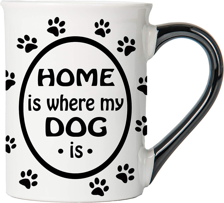 Cottage Creek Coffee Mug, Home is Where My Dog is Coffee Mug, Large 18Oz Ceramic Dog Coffee Mug, Funny Dog Mug, Dog Mom Coffee Cup, Dog Dad Mug [White]