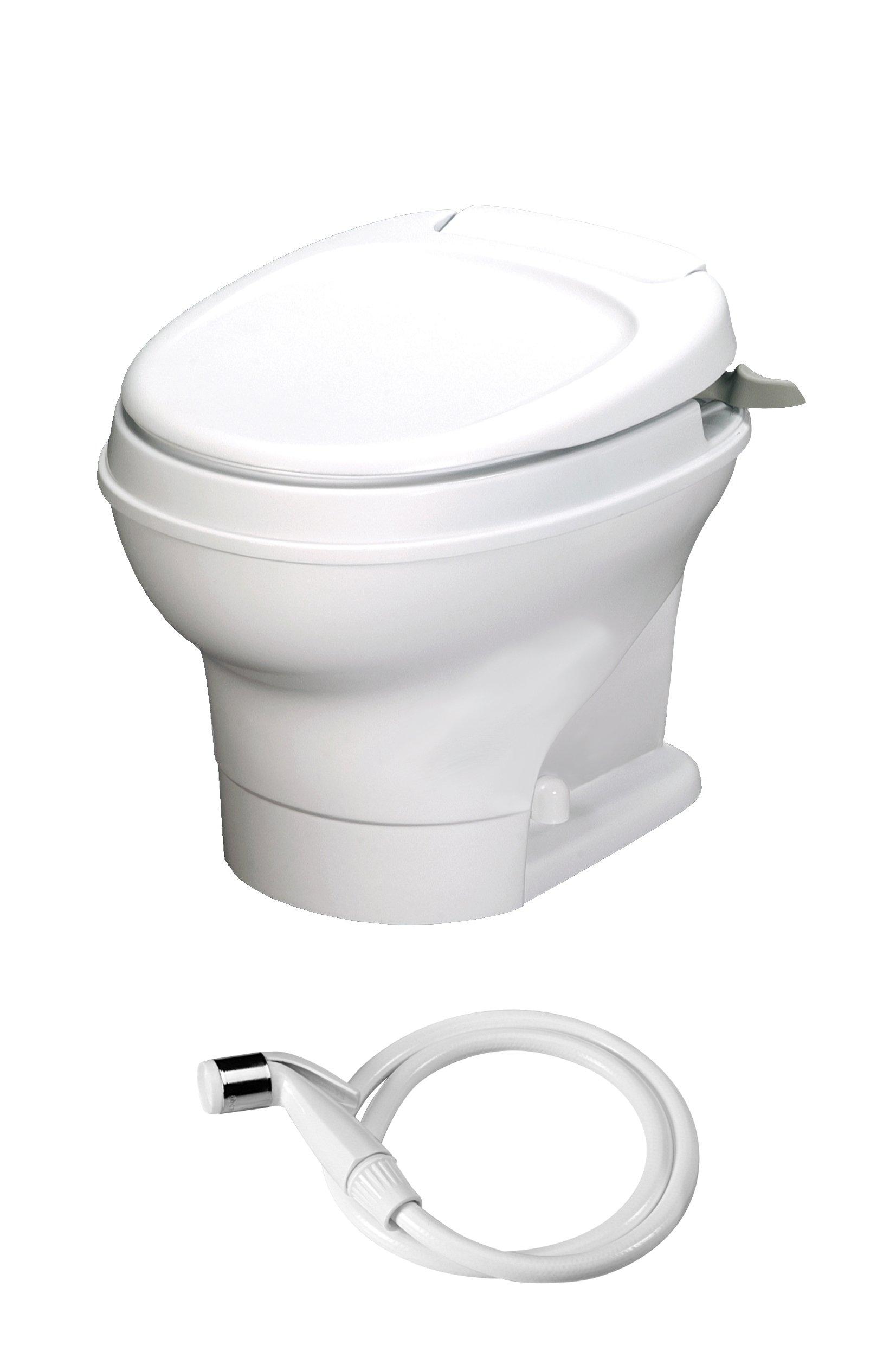 Aqua-Magic V RV Toilet Hand Flush with Hand Sprayer / Low Profile / White - Thetford 31657 by Thetford