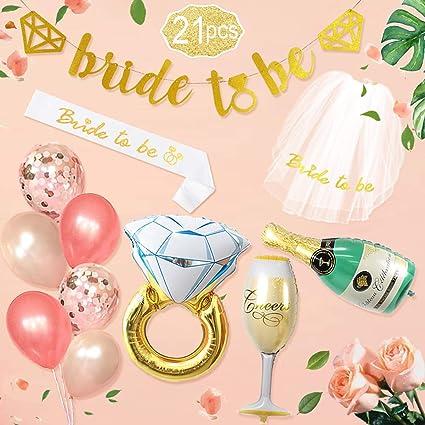 49453ba34b5c Bachelorette Party Decoration Rose Gold Bridal Shower Decorations kit Bride  To Be Banner Veil Sash for