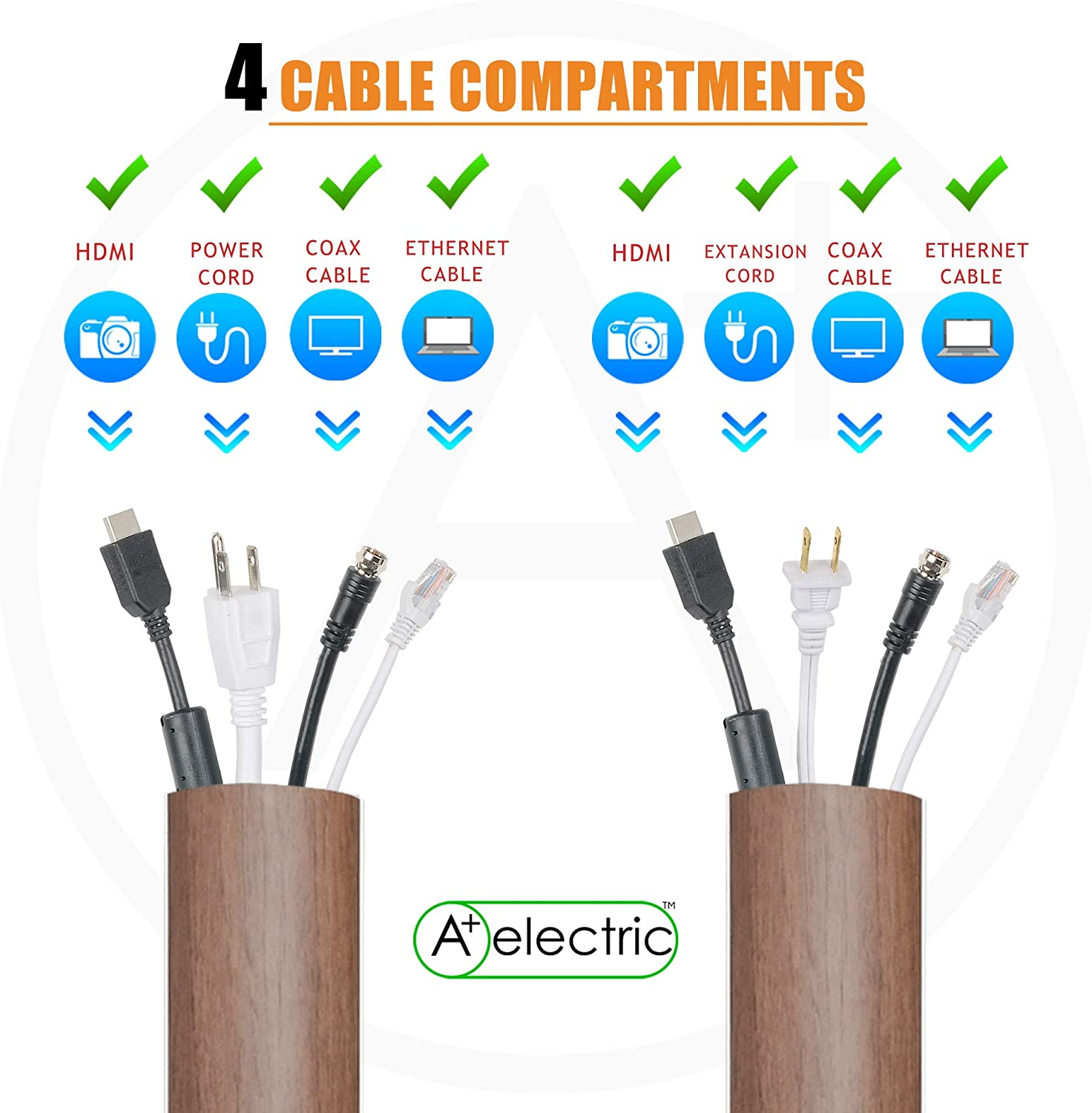 90x20x840mm//3 x0.47 x33 WxHxL Cables Management Kit TL:66 Natural Walnut Rigid Durable Organizer Electric Wire Raceway Self Adhesive Cord Concealer On-Wall//Floor Cable Cover Channel 2 Pieces