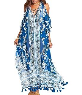 69baaba76398f Bestyou Women's Print Turkish Kaftans Chiffon Caftan Loungewear Beachwear Bikini  Swimsuit Cover Up Dress