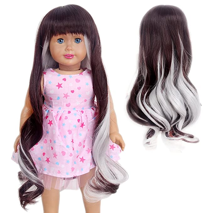 Amazon.com: STfantasy American Girl Doll Wigs Bangs Ombre Silver Gray Brown Long Curly Wavy Hairpiece: Toys & Games