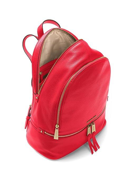 78adae045944 Amazon.com: Michael Kors Women's Large Rhea Zip Leather Backpack (Red):  Clothing