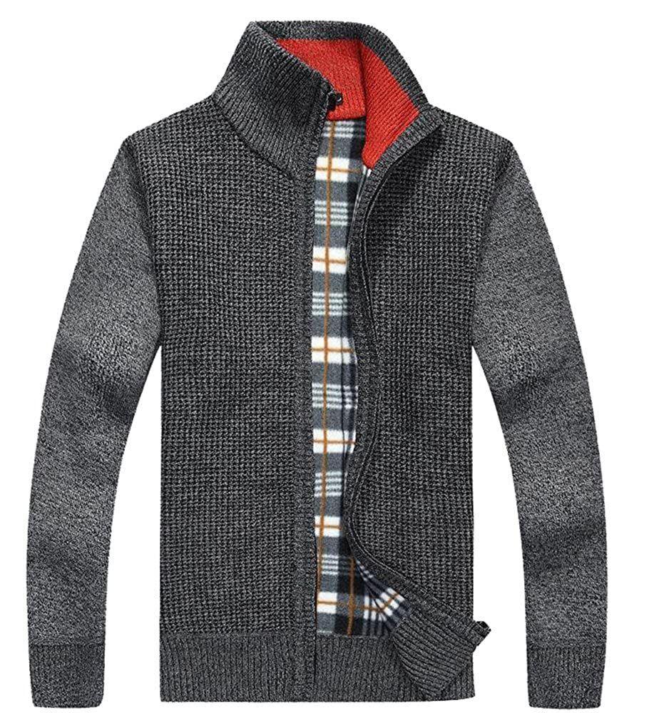 TargetMountain Men's Wool Blend Mock Neck Open Button Down Cardigan Sweater