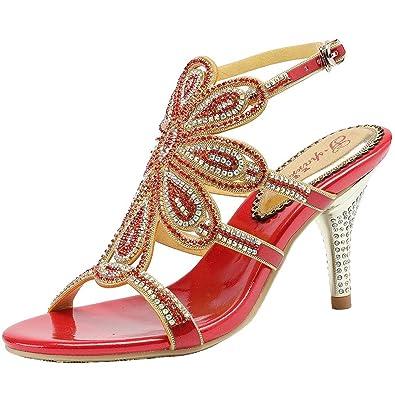 62d416377c7f0b SYYAN Women s Leather Rhinestone Open Toe Pump Dress Sandals Danquet Red