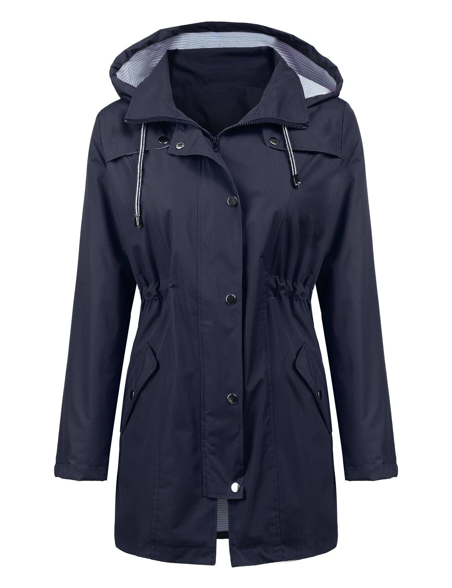 ZHENWEI Womens Lightweight Hooded Waterproof Active Outdoor Rain Jacket S-XXL (XS, Navy Blue) by ZHENWEI (Image #2)