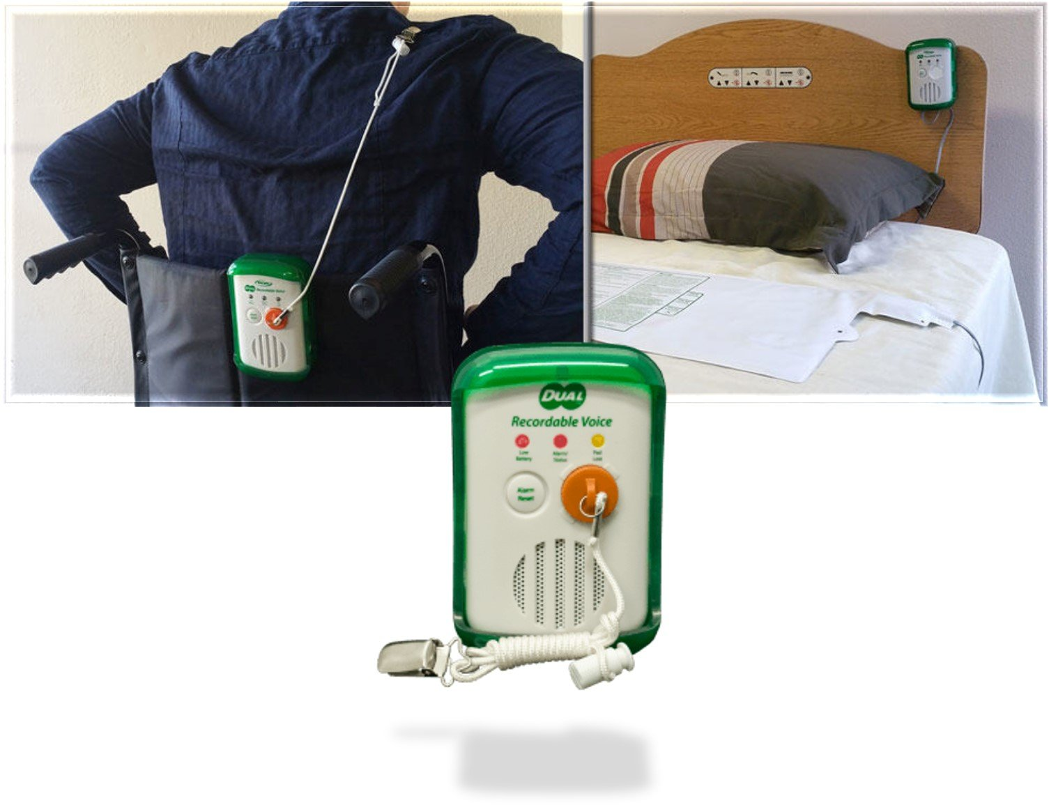 Smart Caregiver Bed & Chair Exit Alarm Monitor For Fall & Wandering Prevention - Dual Recordable Voice (Bed Pad - 20''x30'')
