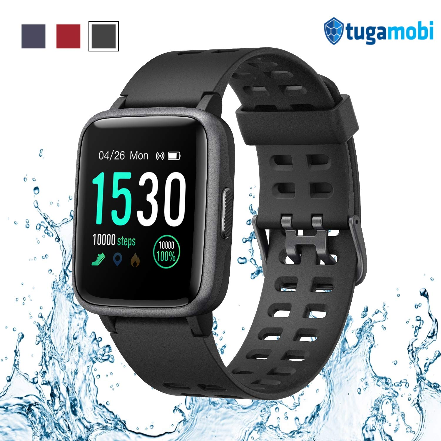 tugamobi Smart Band SB501 - Fitness Tracker, Touch Screen,Tracker with Heart Rate Monitor,5 ATM Waterproof Smart Fitness Band with Step Tracker,Calorie Counter,Alarm Clock,14 Modes (Black) by tugamobi
