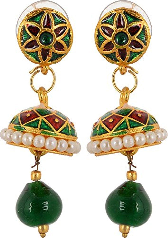 Subharpit Light Weight Meena Peral Traditonal Indian Jhumka Jhumki Earring for Woman /& Girls