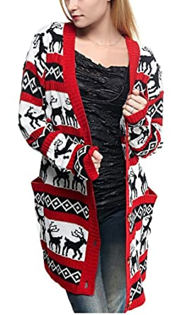 5709f1a89bc3 v28 Womens Oversized Christmas Reindeer Cardigan at Amazon Women s ...