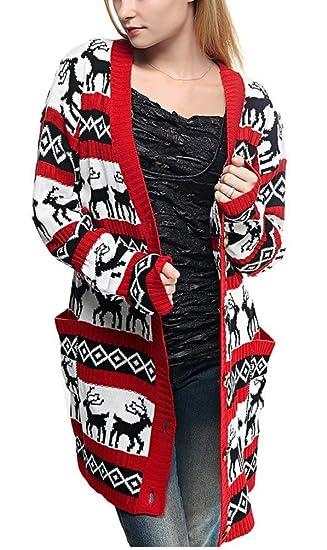 3c69f152ddd v28 Womens Oversized Christmas Reindeer Cardigan