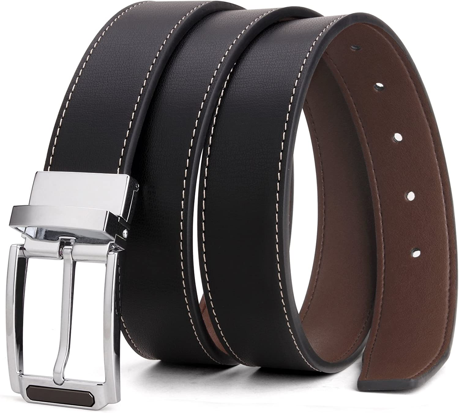 Tonly Monders Mens Reversible Belt Dress Leather Belts For Men Rotated Buckle