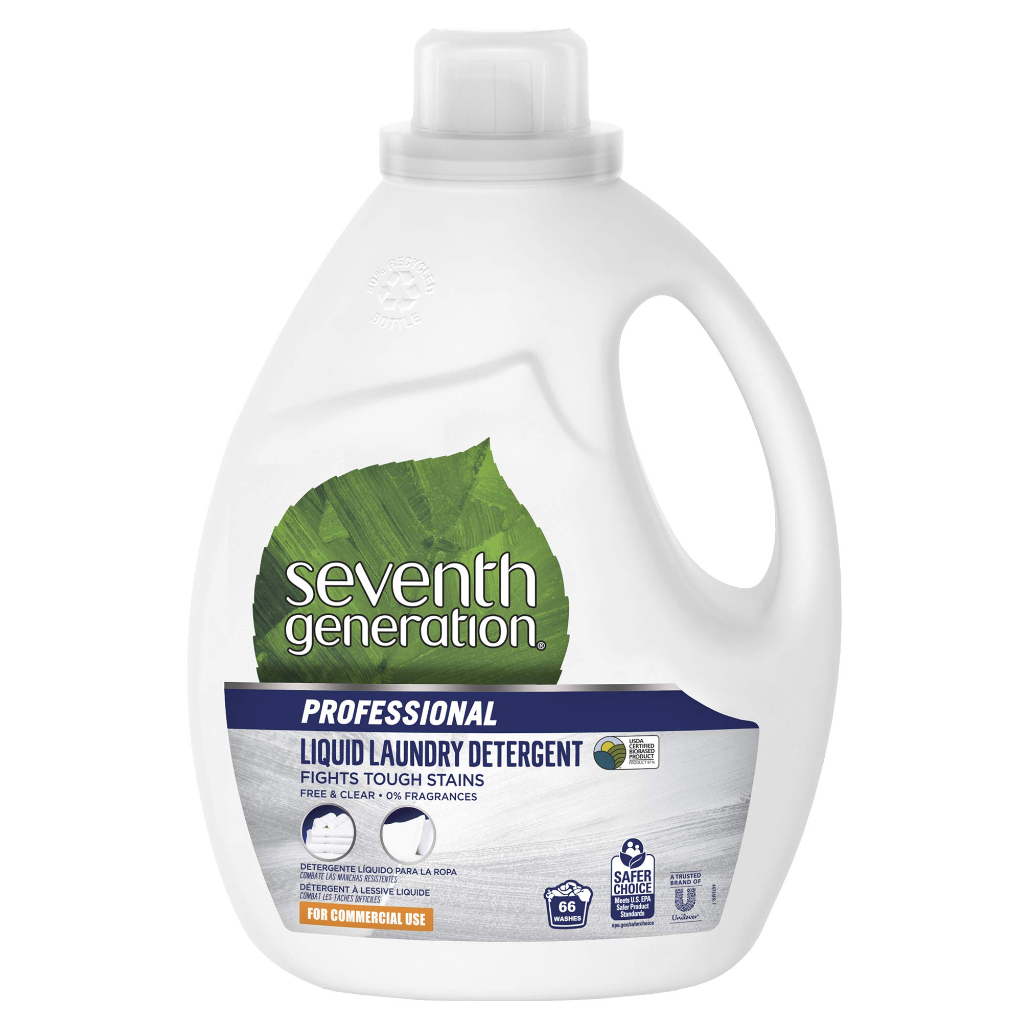 Seventh Generation Professional Liquid Laundry Detergent, Free & Clear, Hypoallergenic, Unfragranced, 100 fl oz (Pack of 4) by Seventh Generation Professional