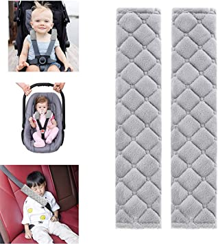 2 Piece Baby Car Seat Strap Covers Universal Stroller Seat Belt Soft Cushion for Newborns Infants Kids Green