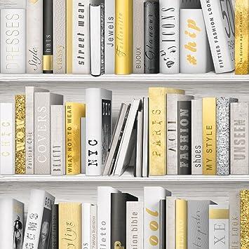 Papel tapiz, con libros, a la moda, con diseño de biblioteca ...