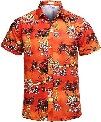 Hombre Camisa Hawaiana Manga Corta impresión De Hawaii Playa ...