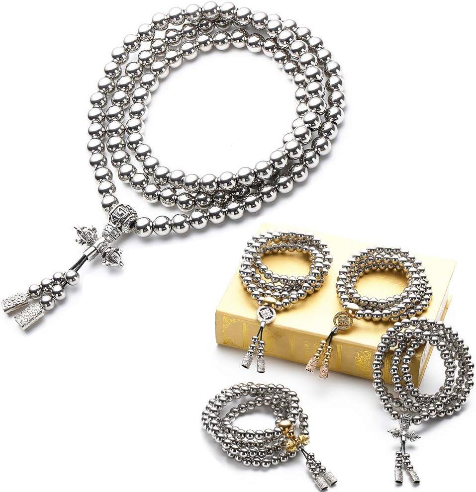 WEREWOLVES Autodefensa Collar de Acero Inoxidable/Collar de latón chain108 Perlas de Buda decoración del Coche Colgante autodefensa Pulsera Azote