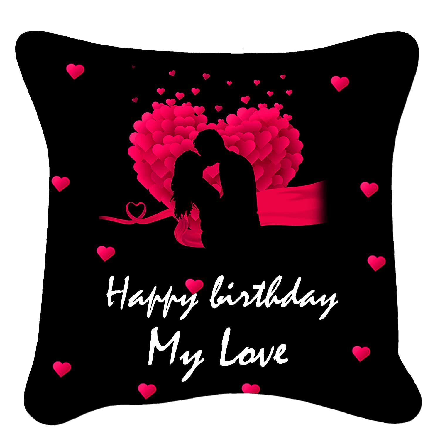 Buy Indian Tag Satin Happy Birthday My Love Printed Cushion Cover With Filler 12x12 Inch Online At Low Prices In India Amazon In