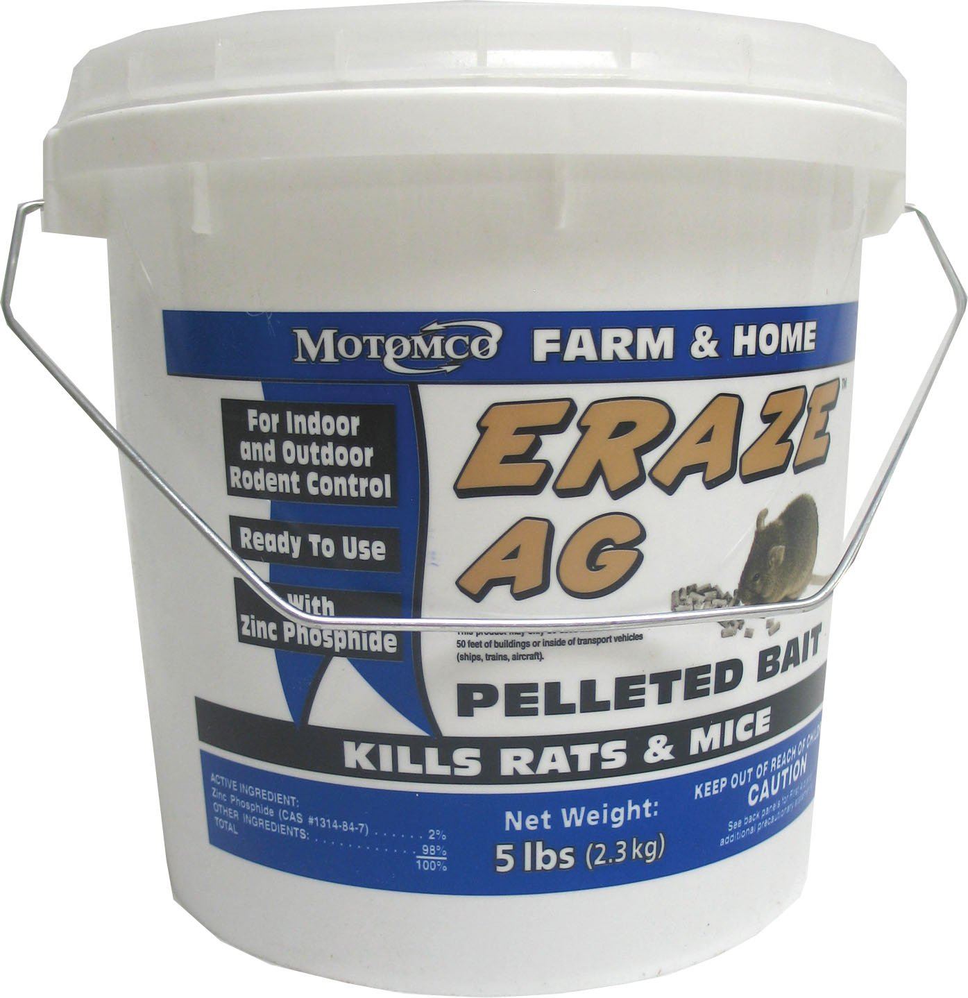 MOTOMCO Eraze Mouse and Rat AG Rodent Pellets, 5-Pound by Motomco B005BV1USE