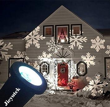 Jieyutek Bewegliches Funkelndes Schneeflocke Projekt Scheinwerfer Freien  IP65 Wasserdicht LED Landschafts Projektor Bühnen Lichter  Weihnachtsfeiertags Rasen
