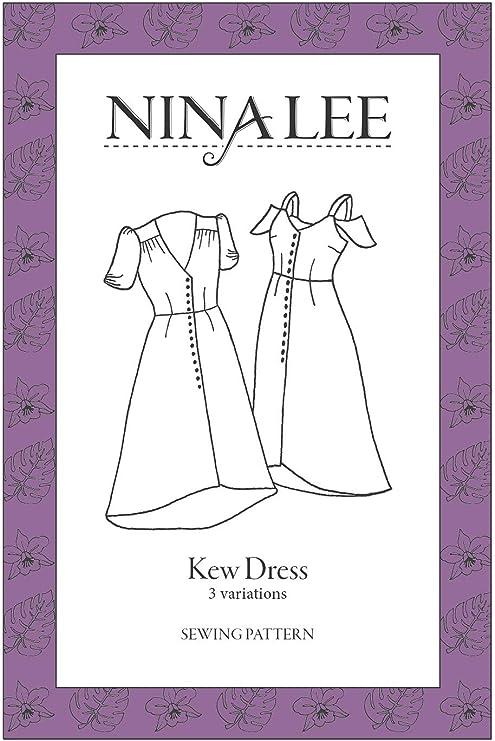 US 6-20 Kew Dress Patron de couture pour d/ébutants par Nina Lee UK 34-48 Vintage Easy Sewing Pattern 2-16 EU Motif de robe pour femme