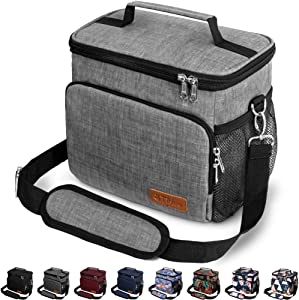 Insulated Lunch Bag for Women/Men - Reusable Lunch Box for Office Work School Picnic Beach - Leakproof Cooler Tote Bag Freezable Lunch Bag with Adjustable Shoulder Strap for Kids/Adult - Rock Grey