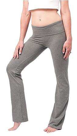 2b7789a638 Amazon.com: Hard Tail Foldover Bootcut Yoga Pants - Charcoal Heather:  Clothing