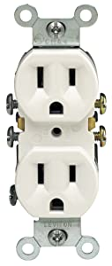 Leviton M24-05320-WMP Straight Blade Duplex Receptacle With Ears, 125 V, 15 A, 2 Pole, 3 Wire 10 Pack White Piece