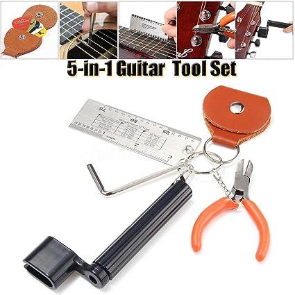 5 en 1 Accesorios de Guitarra Llave Hexagonal, Medidor de Altura de Cuerdas, Alicate